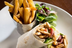 Chicken and bacon wrap with handcut chips